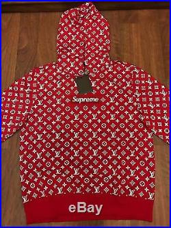 Supreme Louis Vuitton LV Box Logo Hooded Sweatshirt Size XL 100% Authentic
