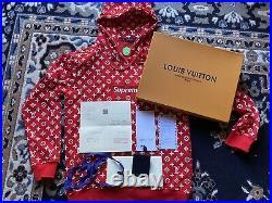 Supreme Louis Vuitton LV Box Logo Hoodie Hooded Sweatshirt Sz Large