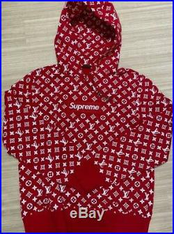 Supreme Louis Vuitton LV Box Logo Parker Hoody Red White Size M Auth F/S USED