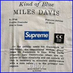 Supreme Miles Davis Kind of Blue Tee Shirt L White Collab Vintage Rare Box Logo
