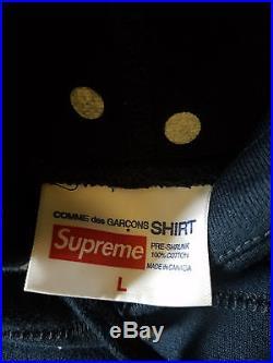 Supreme Navy CDG Box Logo Hoodie Pullover Size Large