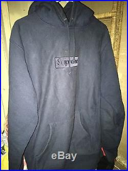 Supreme Navy Tonal Box Logo Hoodie Size Large