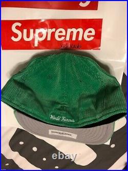 Supreme New Era Green Corduroy Low Crown Box Logo Cap Hat Size 7 5/8 FW15 Rare