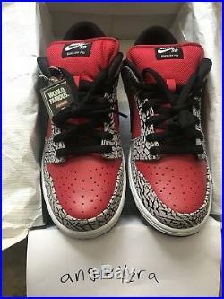 Supreme Nike SB 2012 Dunk Low Pro Red Cement Size 10 Box Logo Black Red 2002