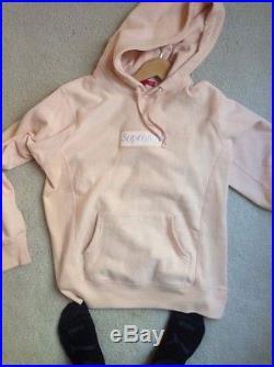 Supreme Peach Box Logo Hooded Sweatshirt