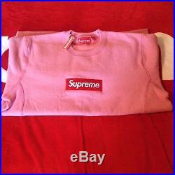 Supreme Pink Box Logo Crewneck size Large DSWT FW15 Shibuya Holo Snake Paris