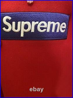 Supreme Purple On Red Box Logo Hoodie Fw17