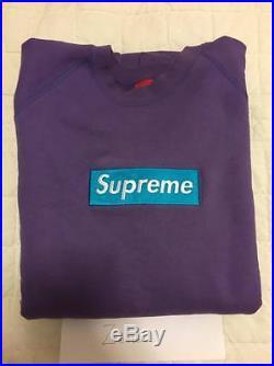 Supreme Purple Teal Box Logo Crewneck