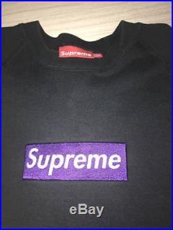 Supreme Purple black Box Logo Crewneck Size Large Hoodie paris kermit japan