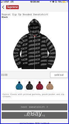 Supreme Repeat Sweatshirt Hoodie Sz XL Black Tnf box logo