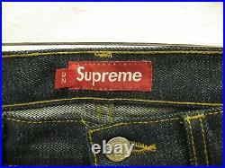 Supreme Rigid Slim Jeans Size 32 Box Logo Raw Selvedge Bape Denim