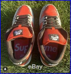 Supreme SB 2012 Dunk Low Pro Red Cement Size 9.5 Box Logo Black Red 2012