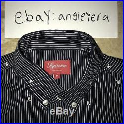 Supreme SS11 Playboy Button Up Oxford Down Navy Medium Box Logo Black Fender