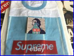 Supreme SS17 Pinstripe S/S Football Top BOX LOGO TEE JERSEY T-SHIRT MADONNA NAS