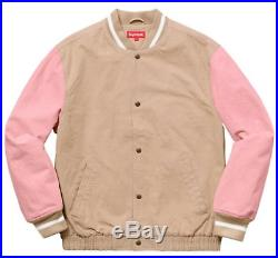 Supreme SS18 Denim Varsity Jacket BOX LOGO COAT PINK PACHES WOOL WASHED MOUNTAIN