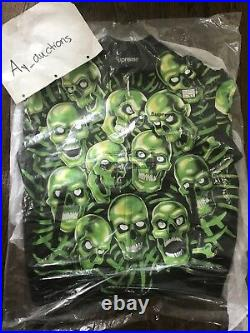 Supreme Skull Pile Leather Bomber Jacket XL Green Authentic Box Logo
