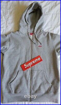 Supreme Small Box Logo Zip Up Hooded Sweatshirt Size M Medium Gray FW17