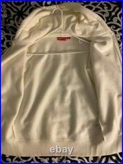 Supreme Small Box Logo Zip Up Hooded Sweatshirt Size M Medium White FW17