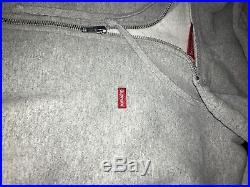 Supreme Small Box Logo Zip Up Sweatshirt Heather Gray Large SS16 Authentic