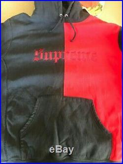 Supreme Split Old English Hooded Sweatshirt Hoodie Navy & Red Box Logo Size XL