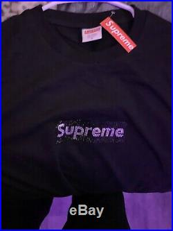Supreme Swarovski Box Logo Tee Black Large 25th Anniversary BOGO