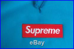 Supreme Teal Box Logo Hoodie Size M