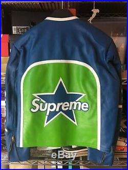 Supreme Vanson Leather Star Jacket Ss17 Size Medium M Blue Green Red Box Logo