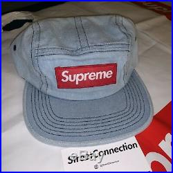 Supreme Washed Chino Twill Camp Cap Blue Red Box Logo Leather Strap NWT