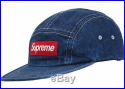 Supreme Washed Chino Twill Camp Cap Denim Ss19 Hat Red Box Logo