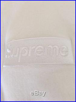 Supreme White Tonal Box Logo Hoodie Size Small FW14
