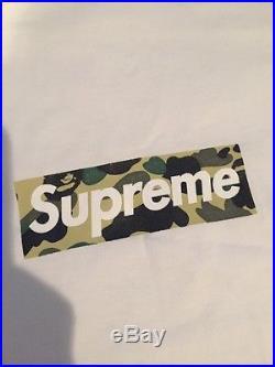 Supreme X A Bathing Ape BAPE Box logo Tee Size L Large