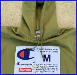 Supreme X Champion Label Box Logo Bogo Pullover Hoodie Sweater Fw18 Olive M
