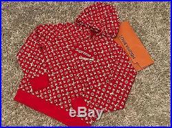 Supreme X Louis Vuitton Box Logo Monogram LV XL Hoodie Fw17 Bogo Red Hooded