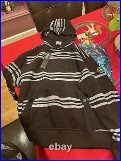 Supreme X Stone Island Warp Stripe Hoodie Black Large Box Logo Brand New