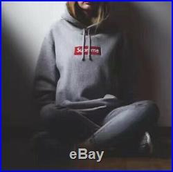 Supreme box logo hoodie Red on Gray fw16 XLarge
