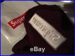 Supreme burgundy maroon Box logo hoodie medium + authentic supreme bag