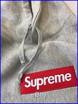 Supreme grey box logo hoodie SIZE MEDIUM FREE SHIPPING