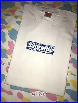 Supreme x Bape Blue ABC Camo T shirt Size Large DS New box logo OG NIGO Vintage