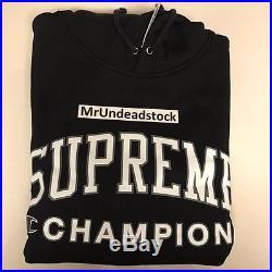 Supreme x CHAMPION Black Box Logo Hoodie Hooded Sweatshirt Sz XLarge New SS17