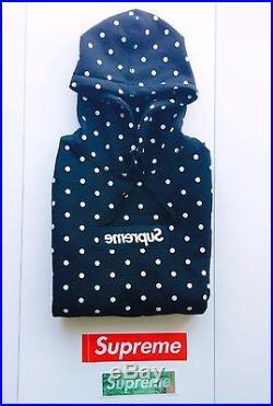 Supreme x Comme Des Garcon CDG Black Box Logo Pullover Hoodie Polka Dot Size M