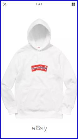 Supreme x Comme Des Garcon CDG Hoodie AND T-Shirt Box Logo BOGO Sz Large White