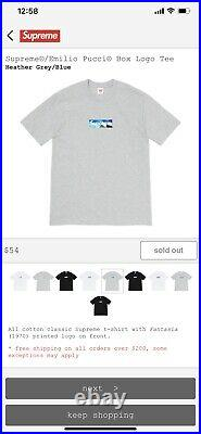 Supreme x Emilio Pucci Box Logo Tee Large Heather Grey/Blue (CONFIRMED ORDER)