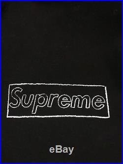 Supreme x Kaws Collab Bogo Box Logo Black Hoodie Size Large