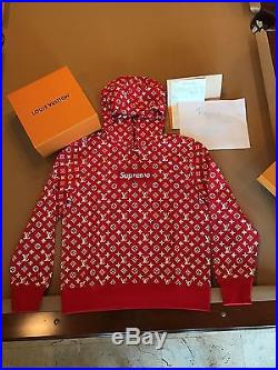 Supreme x Louis Vuitton LV Hoodie Red Box Logo Size L NEW DS Large Authentic