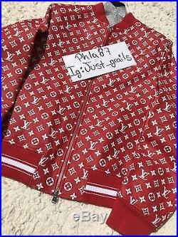 Supreme x Louis Vuitton Leather Blouson Bomber Monogram Box Logo Jacket Size 52