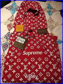 Supreme x Louis Vuitton Red Box Logo Hoodie Size XL 100