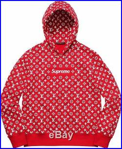 Supreme x Louis Vuitton Red Box Logo Hoodie Size XL 100% Authentic