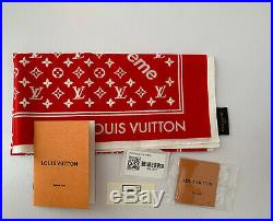 Supreme x Louis Vuitton Red Monogram Bandana LV BOX LOGO Authentic
