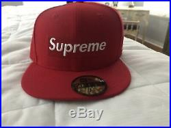 Supreme x New Era Box Logo RIP Fitted Hat Red FW16 75/8