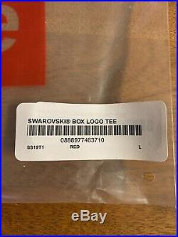 Supreme x Swarovski Box Logo Tee Red Size Large BRAND NEW! SS19